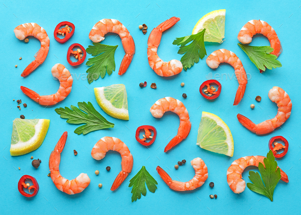 pattern of prawns and spices - Stock Photo - Images