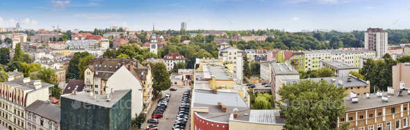 Panoramic view of Szczecin City skyline, Poland - Stock Photo - Images