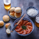 Prawns with tomato sauce, beer and buns, dark photo - PhotoDune Item for Sale