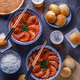 Shrimp in chili sauce with rice and beer - PhotoDune Item for Sale
