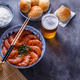 Bowl of shrimps with chopsticks, rice and beer, copyspace - PhotoDune Item for Sale