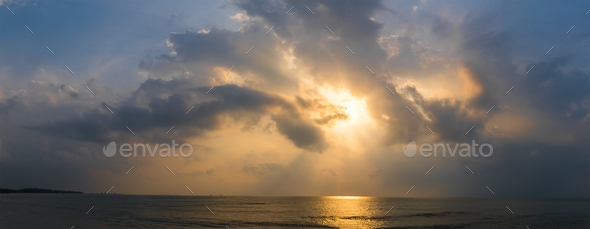 Sunset with dramatic cloud over sea-6 - Stock Photo - Images