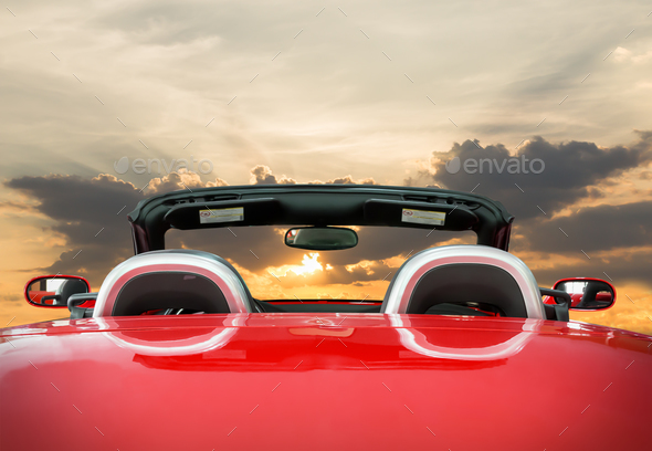 The red car with sunset_ - Stock Photo - Images