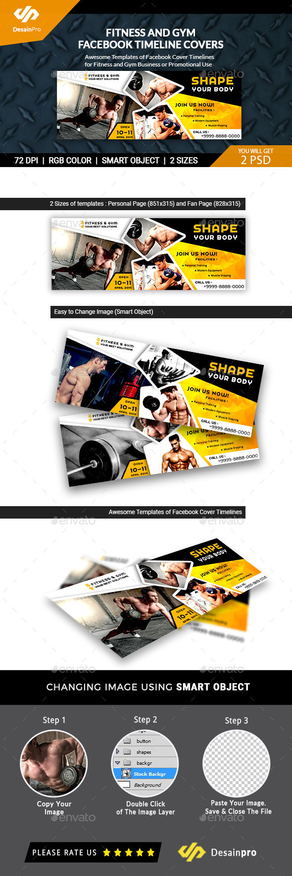 Fitness & Gym Facebook Timeline Covers - AR - Banners & Ads Web Elements
