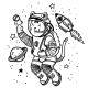 Vector Illustration Cat Astronaut Soaring - GraphicRiver Item for Sale