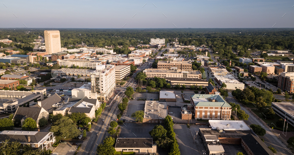 Dusk Comes to Main Street in Spartanburg South Carolina - Stock Photo - Images