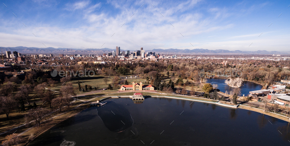 Aerial View over Lake Ferril in City Park of Denver Colorado - Stock Photo - Images