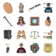 Crime and Punishment Cartoon Icons in Set - GraphicRiver Item for Sale