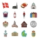 Country Denmark Cartoon Icons in Set Collection - GraphicRiver Item for Sale