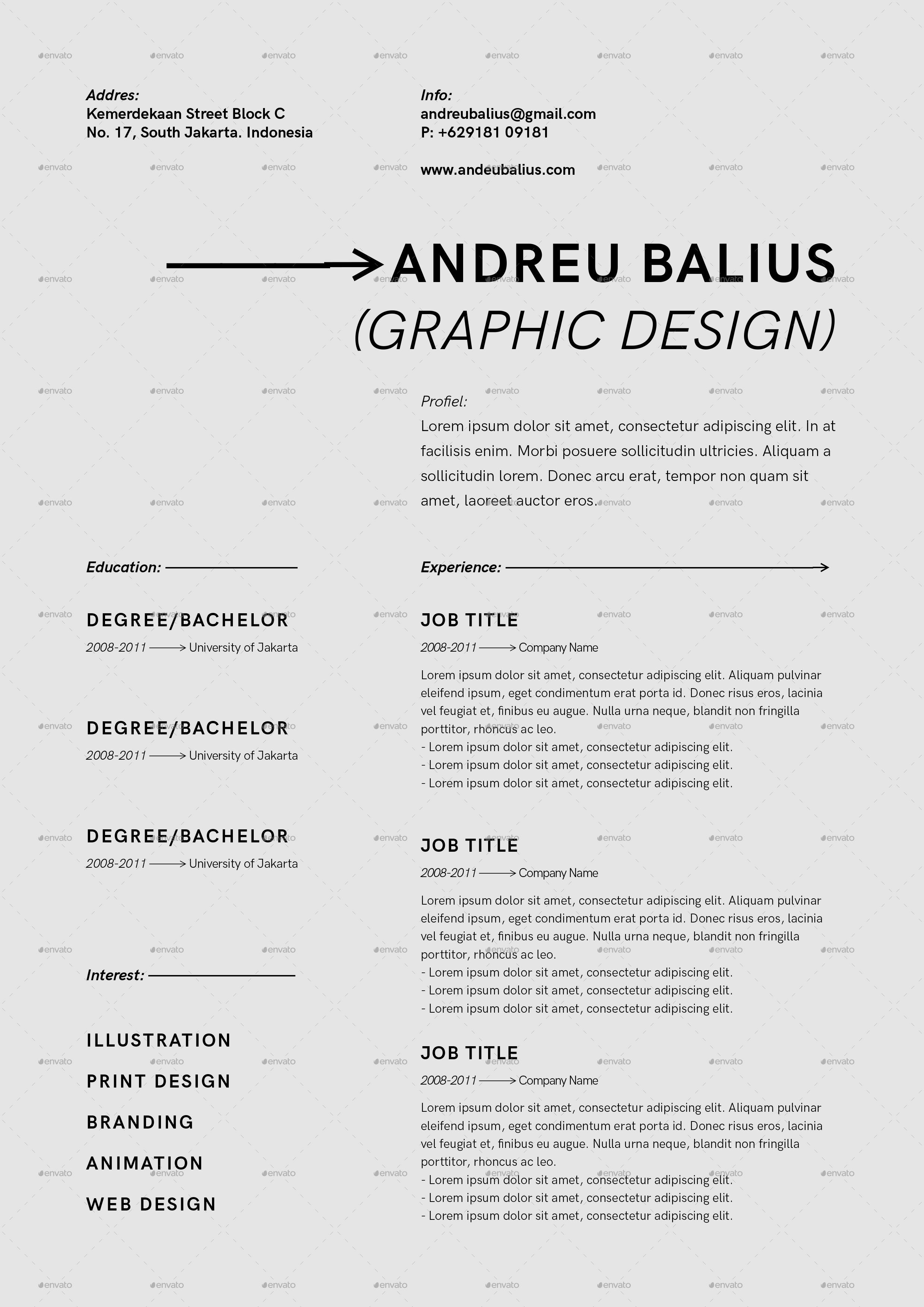 Minimalist Cv Resume Templates By Benstudio73 Graphicriver