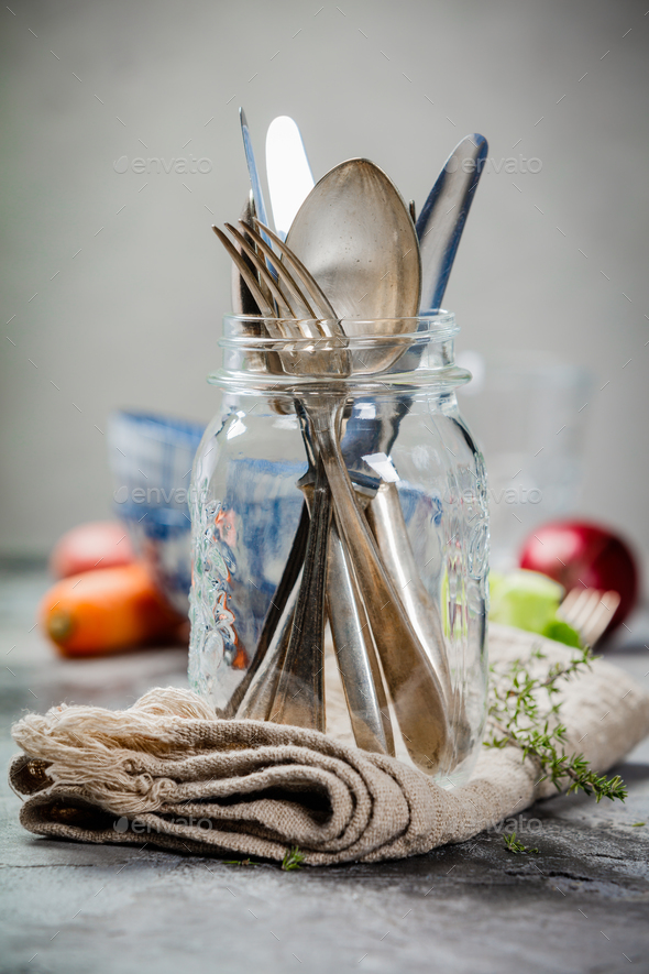 Forks spoons and knifes - Stock Photo - Images