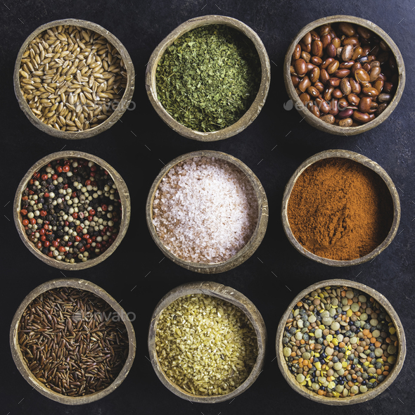 Set of spices on dark rustic background - Stock Photo - Images