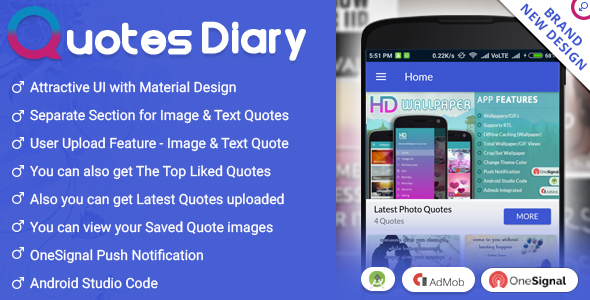 Quotes Diary - Android App - CodeCanyon Item for Sale