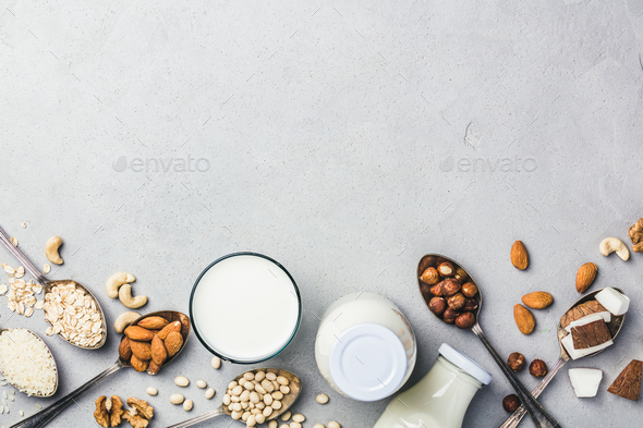 Vegan milk and ingredients  - Stock Photo - Images
