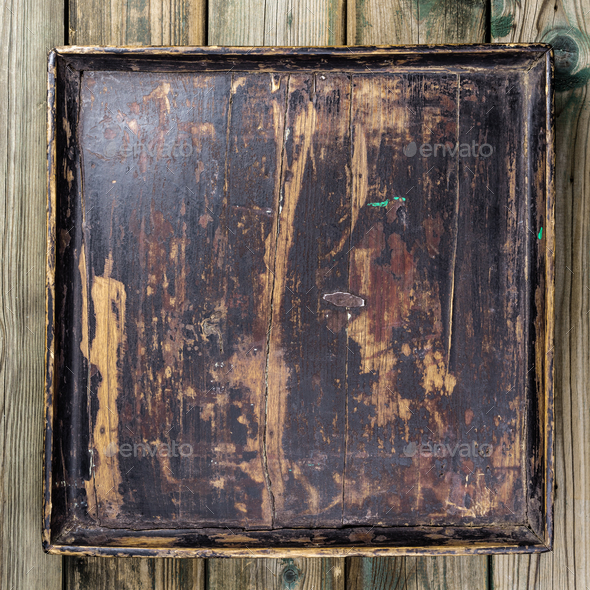 Vintage tray on wooden background - Stock Photo - Images