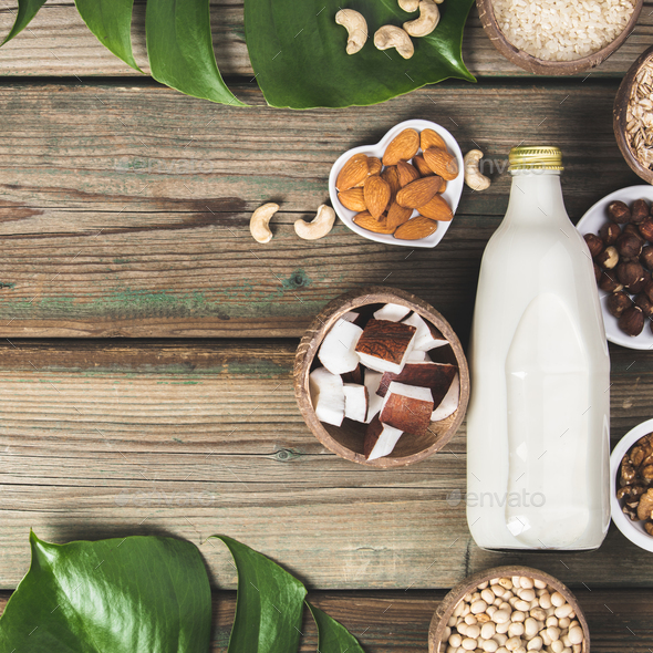Dairy free milk substitute drink and ingredients - Stock Photo - Images