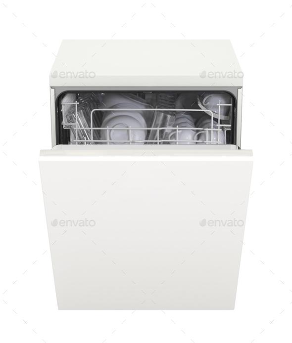 Open dishwasher isolated on white - Stock Photo - Images