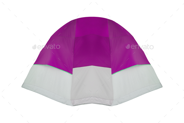 purple tent isolated on white background - Stock Photo - Images