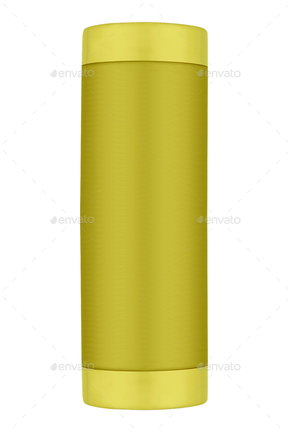 yellow thermos isolated on white background - Stock Photo - Images