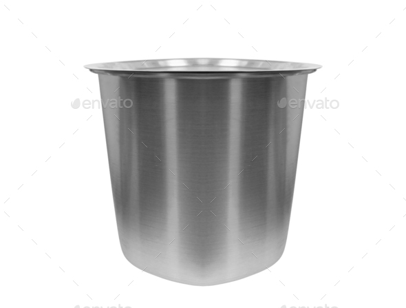 metal bowl isolated on white - Stock Photo - Images