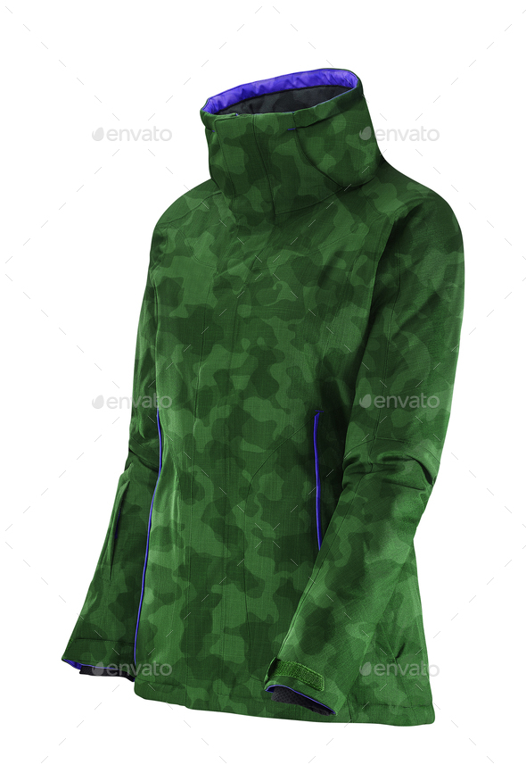 green raincoat isolated on white - Stock Photo - Images