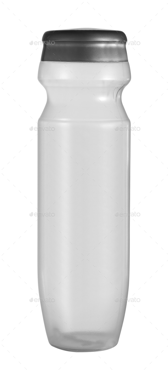Plastic sport water bottle isolated on white - Stock Photo - Images