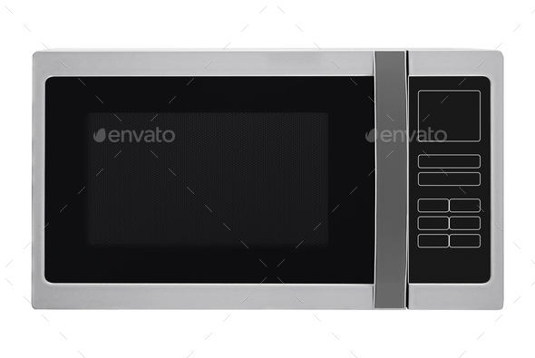 Microwave oven isolated on white background - Stock Photo - Images