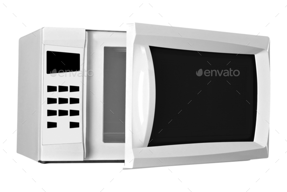 microwave oven isolated on a white background - Stock Photo - Images