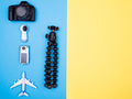 Flat lay top view of plane on yellow background - PhotoDune Item for Sale