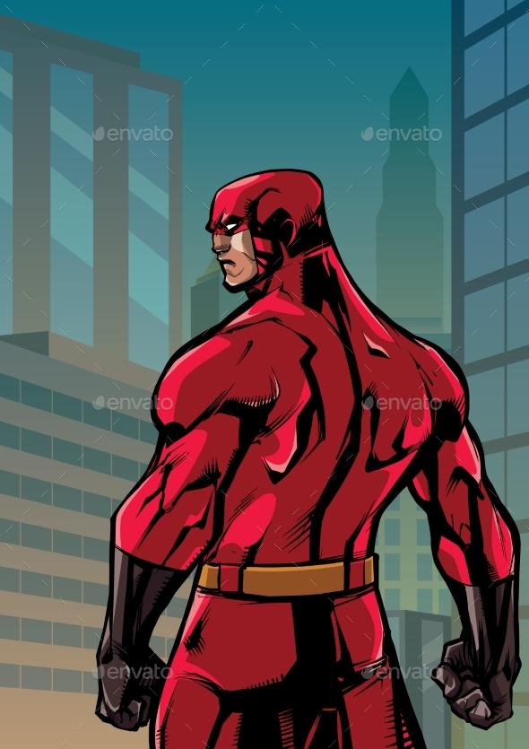 Superhero Back No Cape City - People Characters