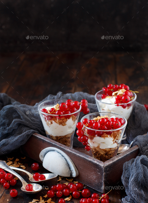Red currants and yogurt - Stock Photo - Images