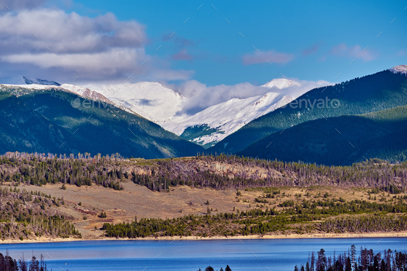 Dillon Reservoir and Swan Mountain. Rocky Mountains, Colorado - Stock Photo - Images