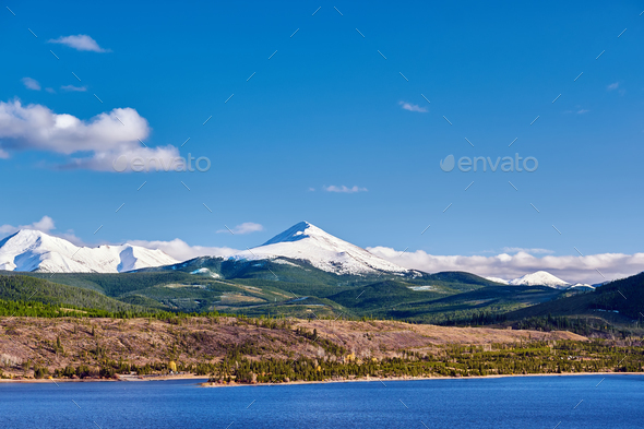 Dillon Reservoir and Swan Mountain. Rocky Mountains, Colorado - Stock Photo - Images