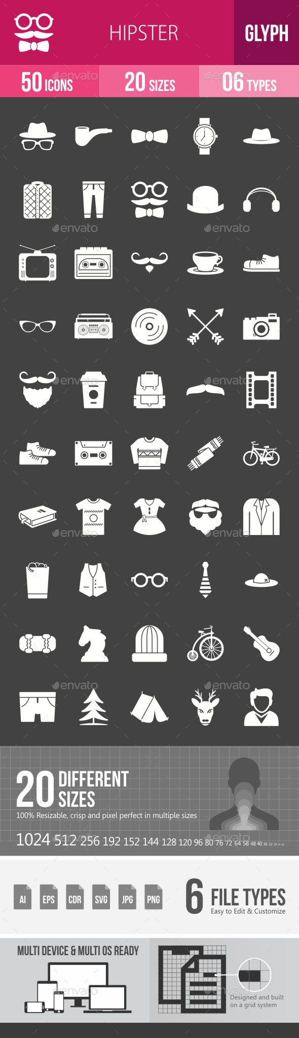 Hipster Glyph Inverted Icons - Icons