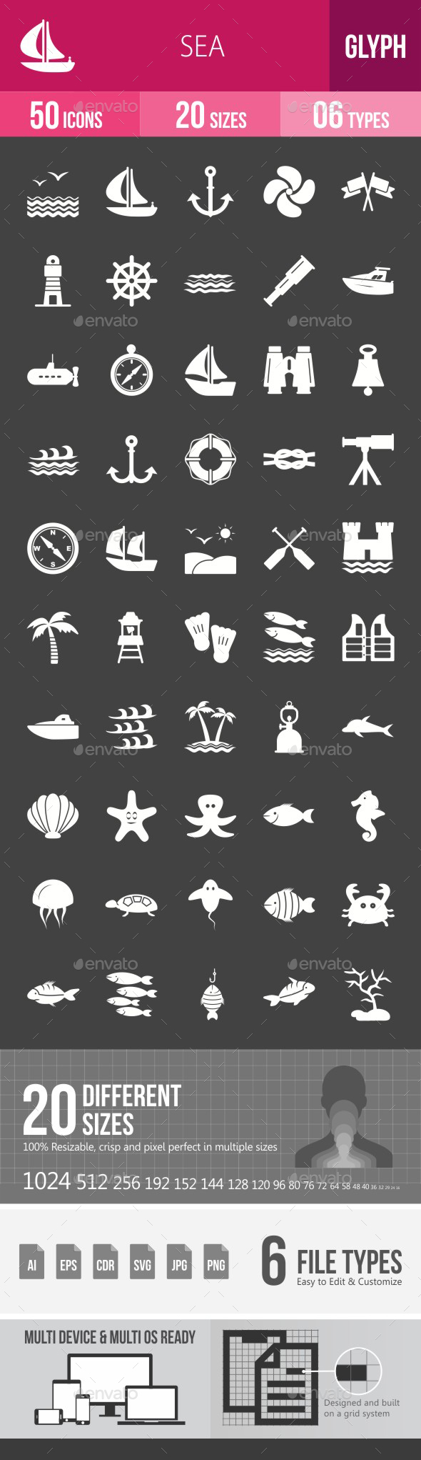Sea Glyph Inverted Icons - Icons