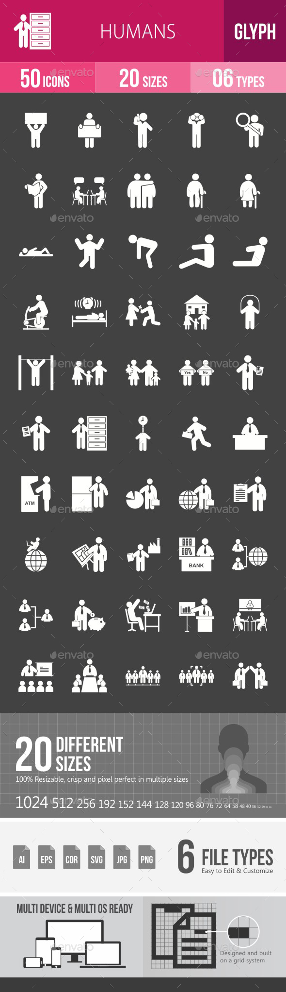 Humans Glyph Inverted Icons - Icons