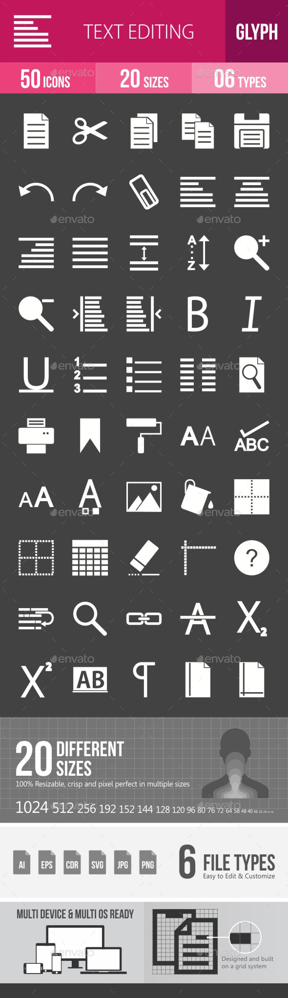 Text Editing Glyph Inverted Icons - Icons