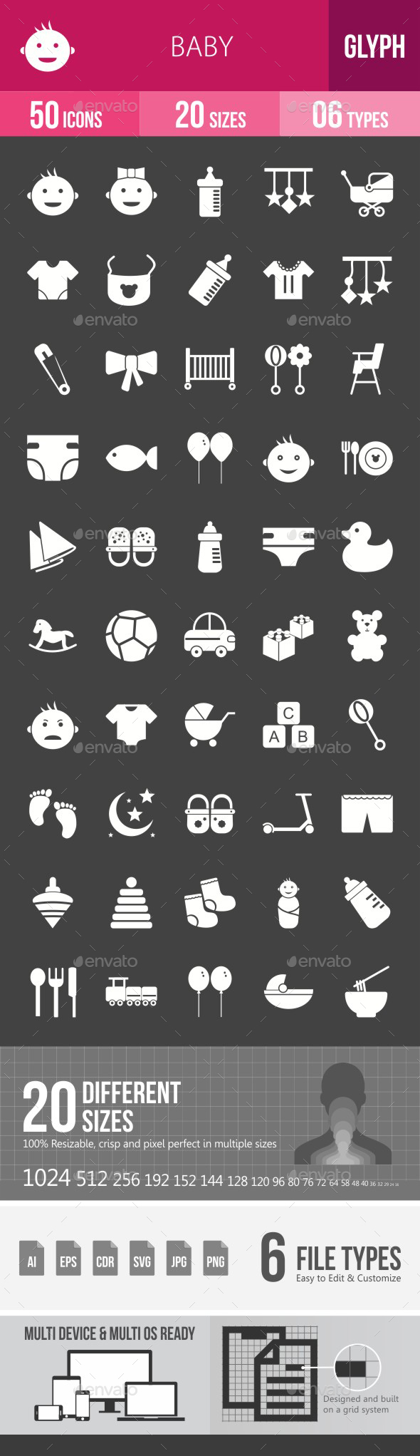 Baby Glyph Inverted Icons - Icons