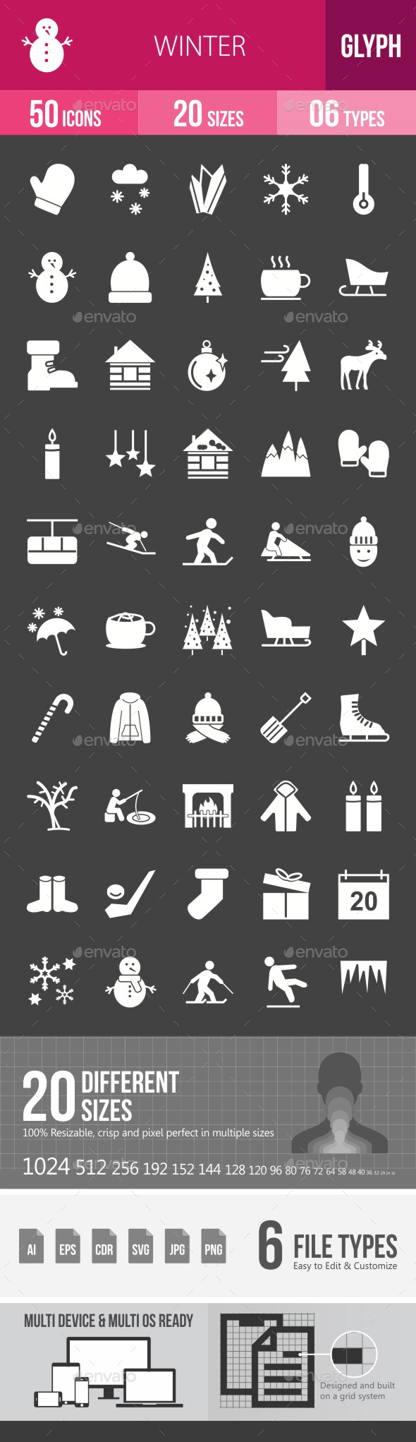Winter Glyph Inverted Icons - Icons