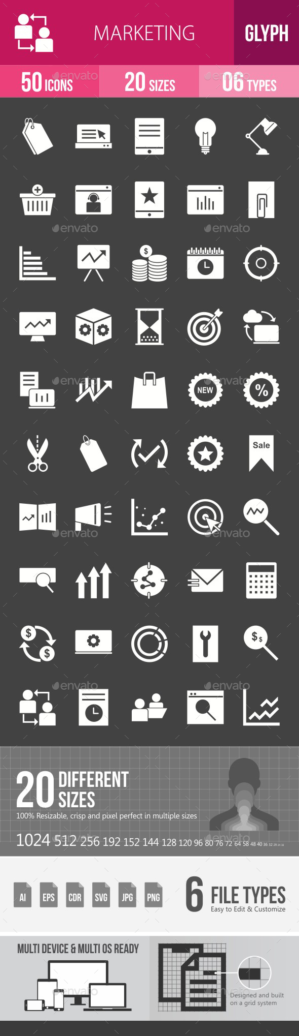 Marketing Glyph Inverted Icons - Icons