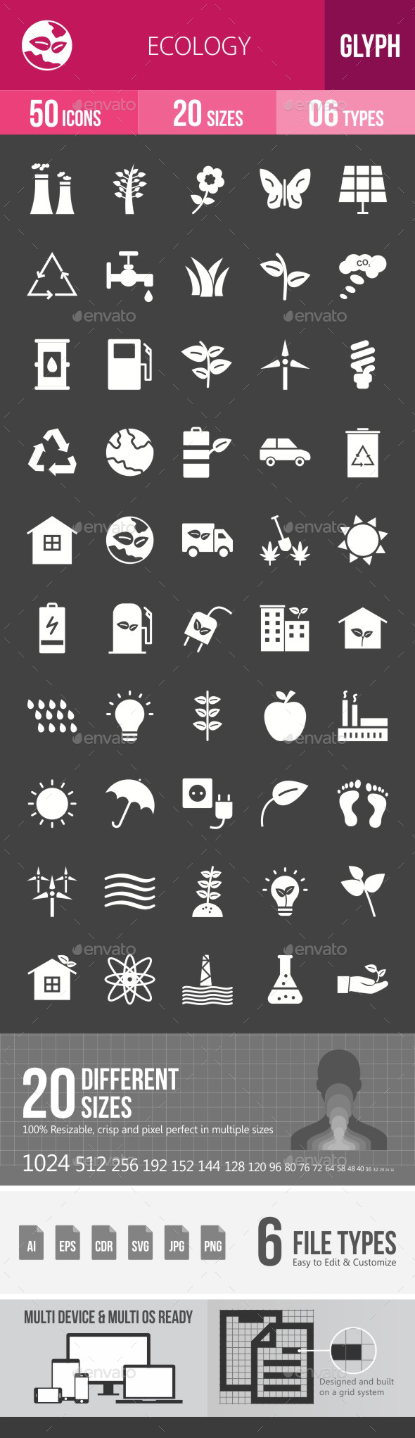 Ecology Glyph Inverted Icons - Icons