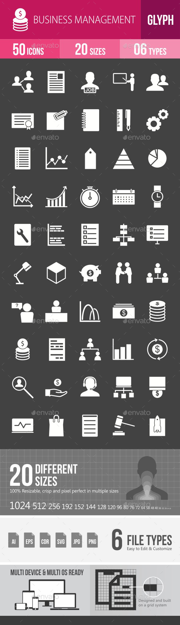 Business Management Glyph Inverted Icons - Icons