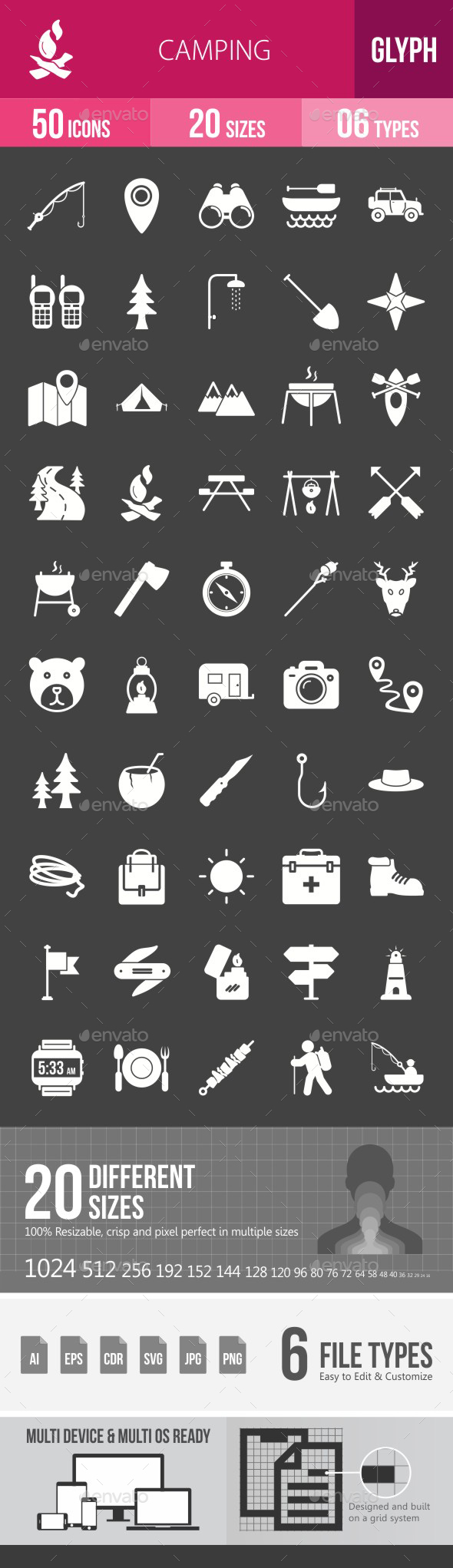Camping Glyph Inverted Icons - Icons