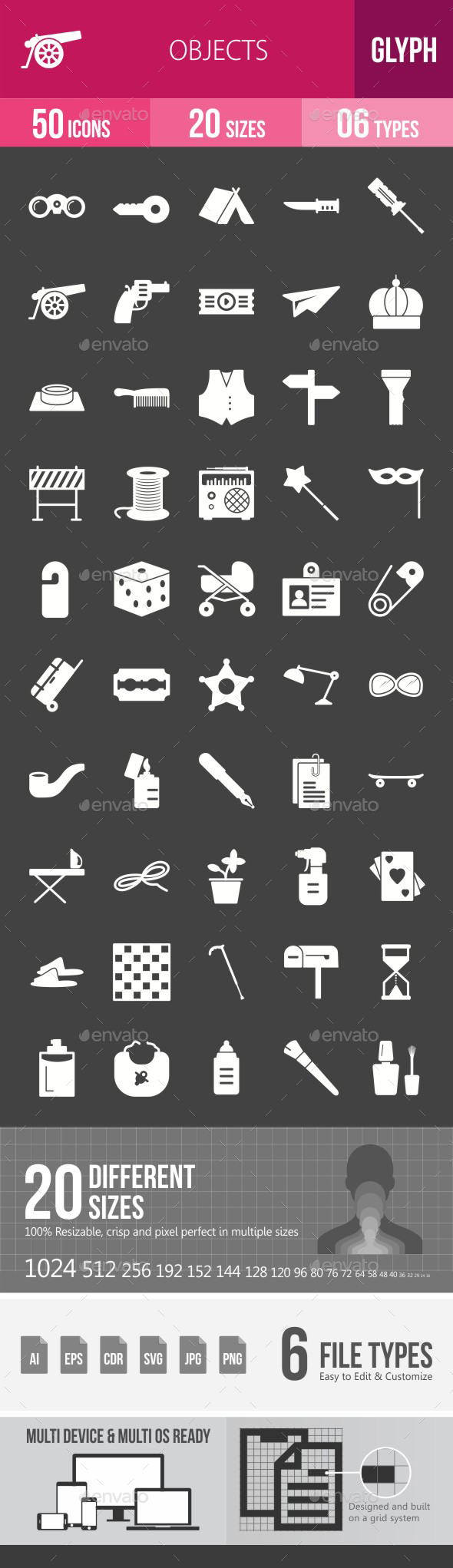 Objects Glyph Inverted Icons - Icons