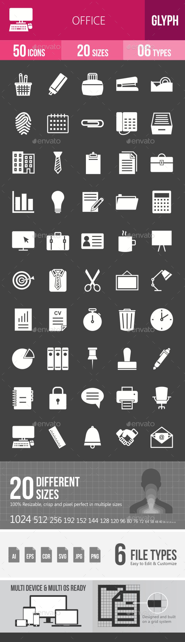 Office Glyph Inverted Icons - Icons