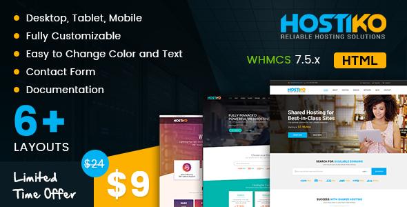Image of Hostiko HTML WHMCS Hosting Theme