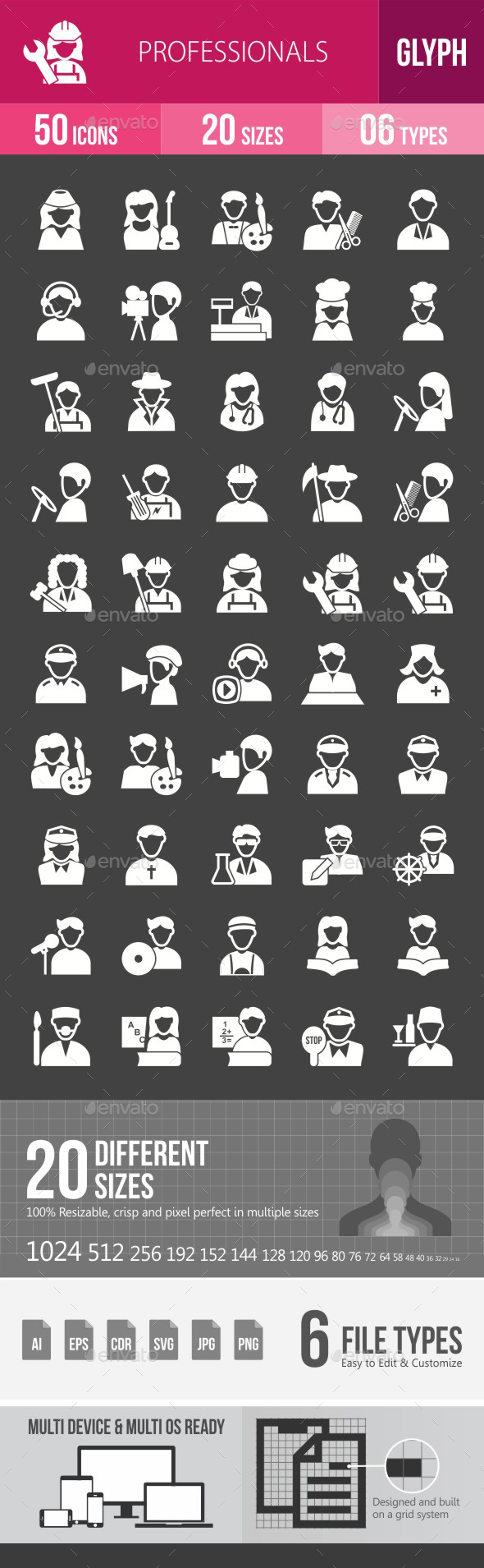 Professionals Glyph Inverted Icons - Icons