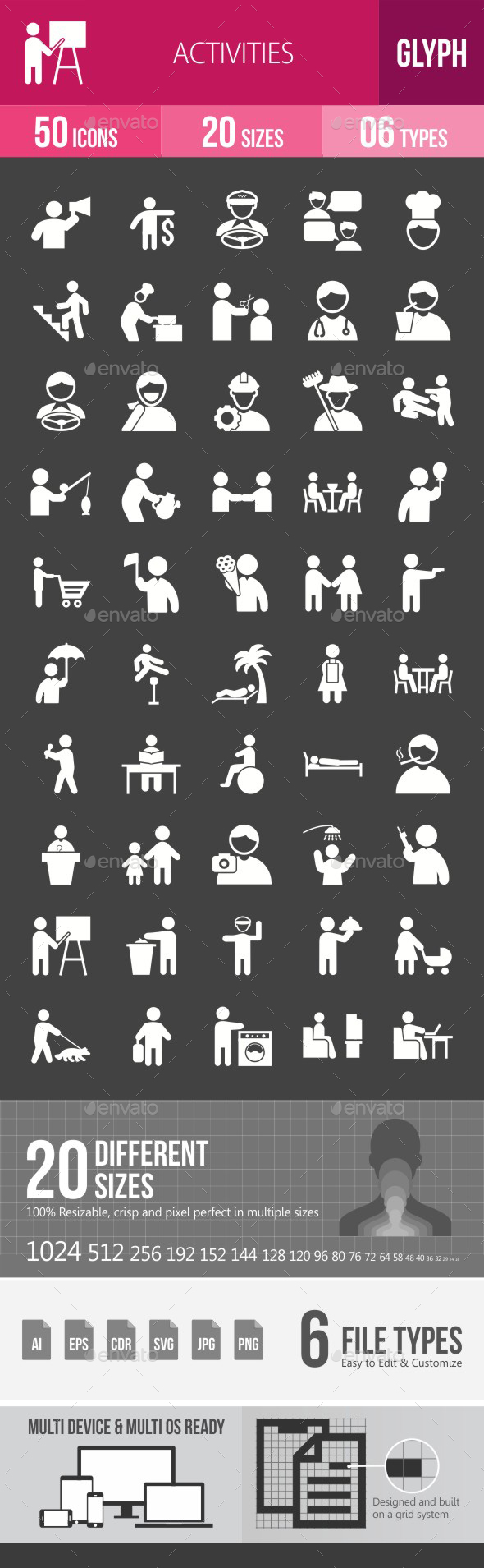 Activities Glyph Inverted Icons - Icons