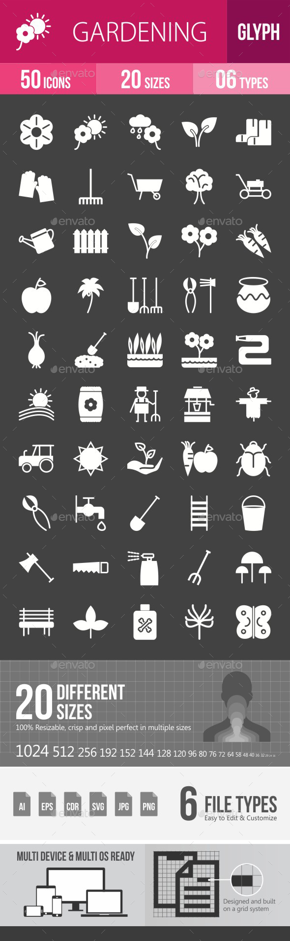 Gardening Glyph Inverted Icons - Icons