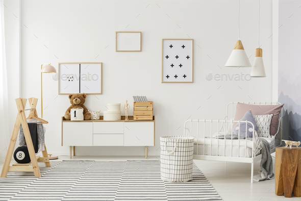 Kid's bedroom with wooden furniture - Stock Photo - Images